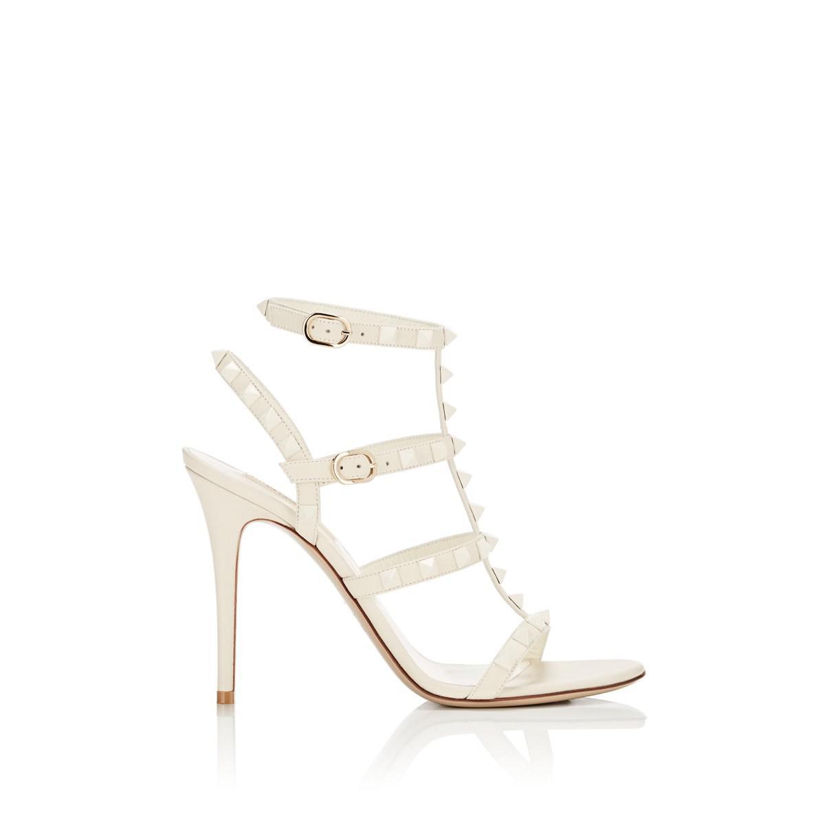 6771a13db855 Lyst - Valentino Off-white Garavani Rockstud Sandals in White