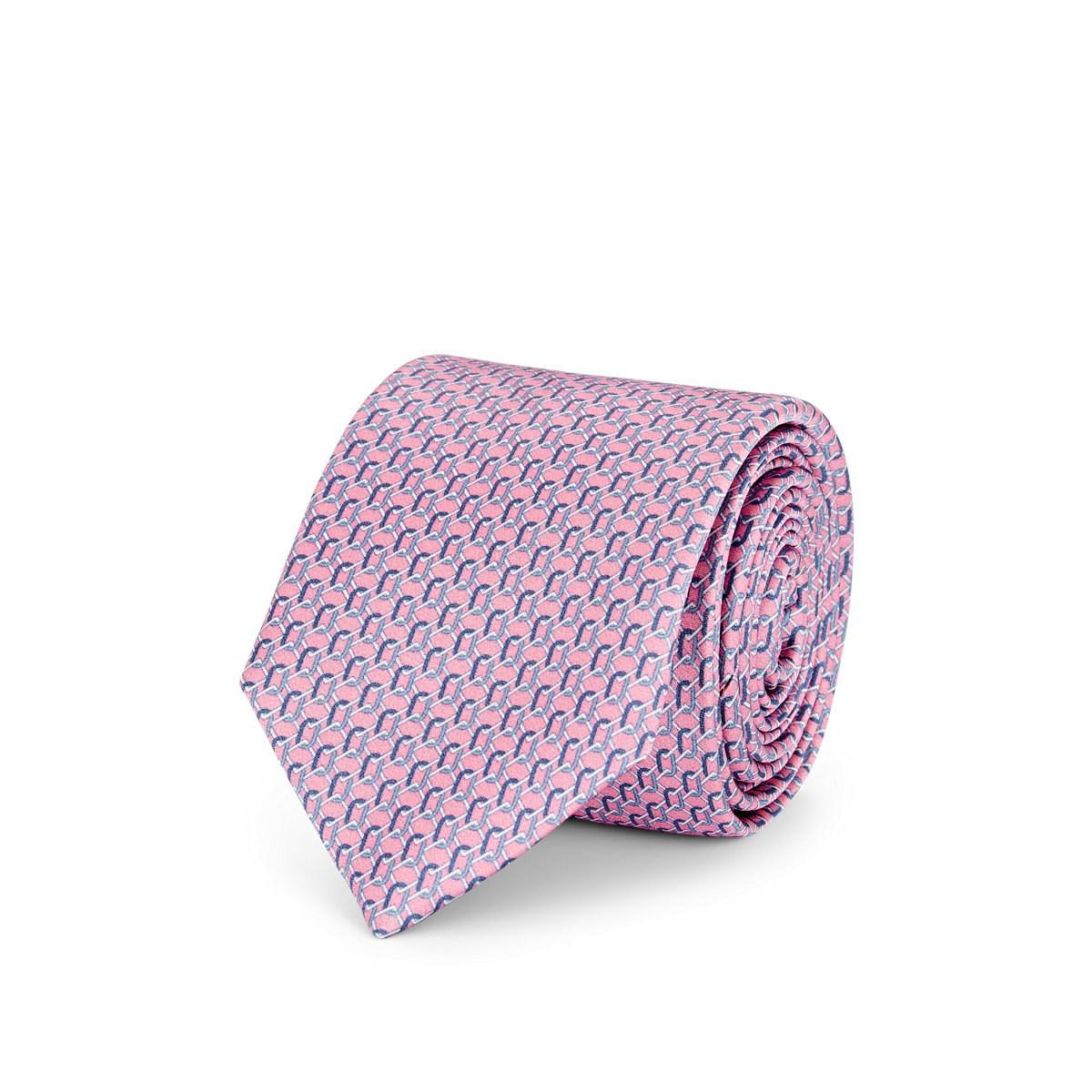 2e313620 Barneys New York Chain-link-pattern Silk Satin Necktie in Pink for ...