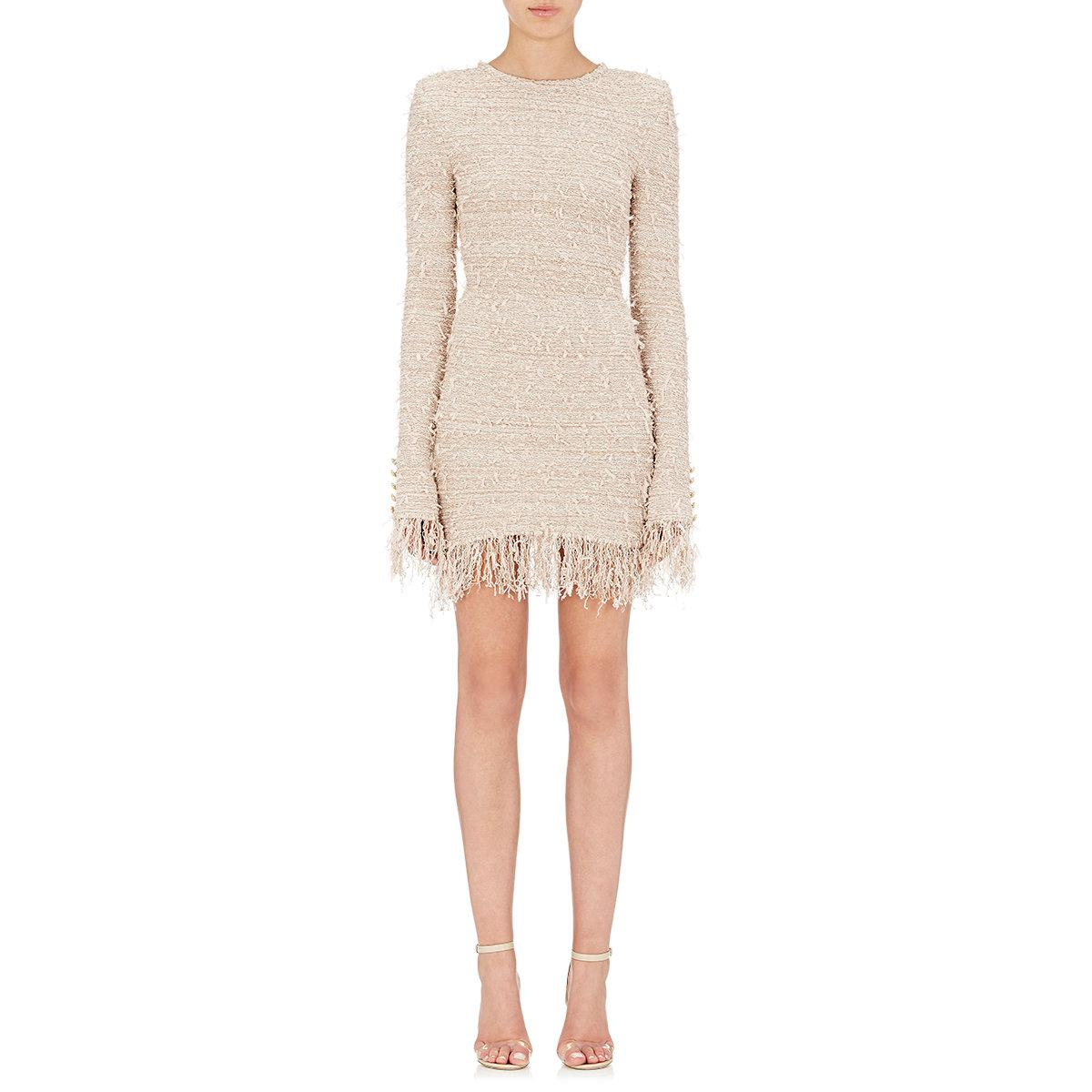 aaf18ea6 Balmain Fringed Tweed Dress in Pink - Lyst