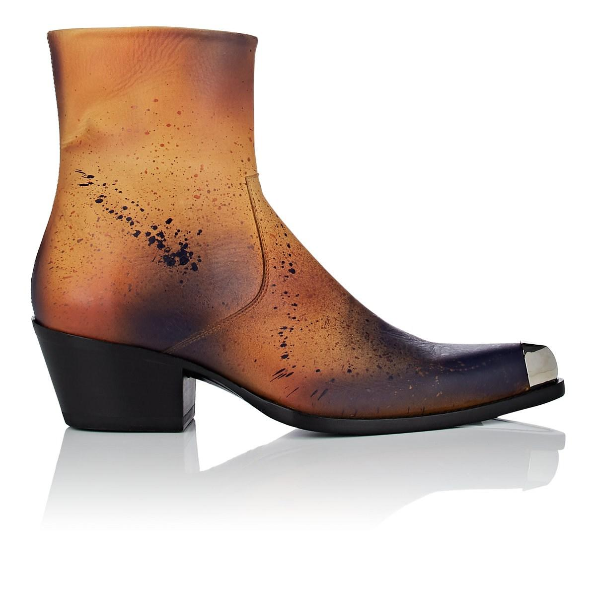 e61051f8b Lyst - CALVIN KLEIN 205W39NYC Metal-tipped Leather Boots in Brown ...