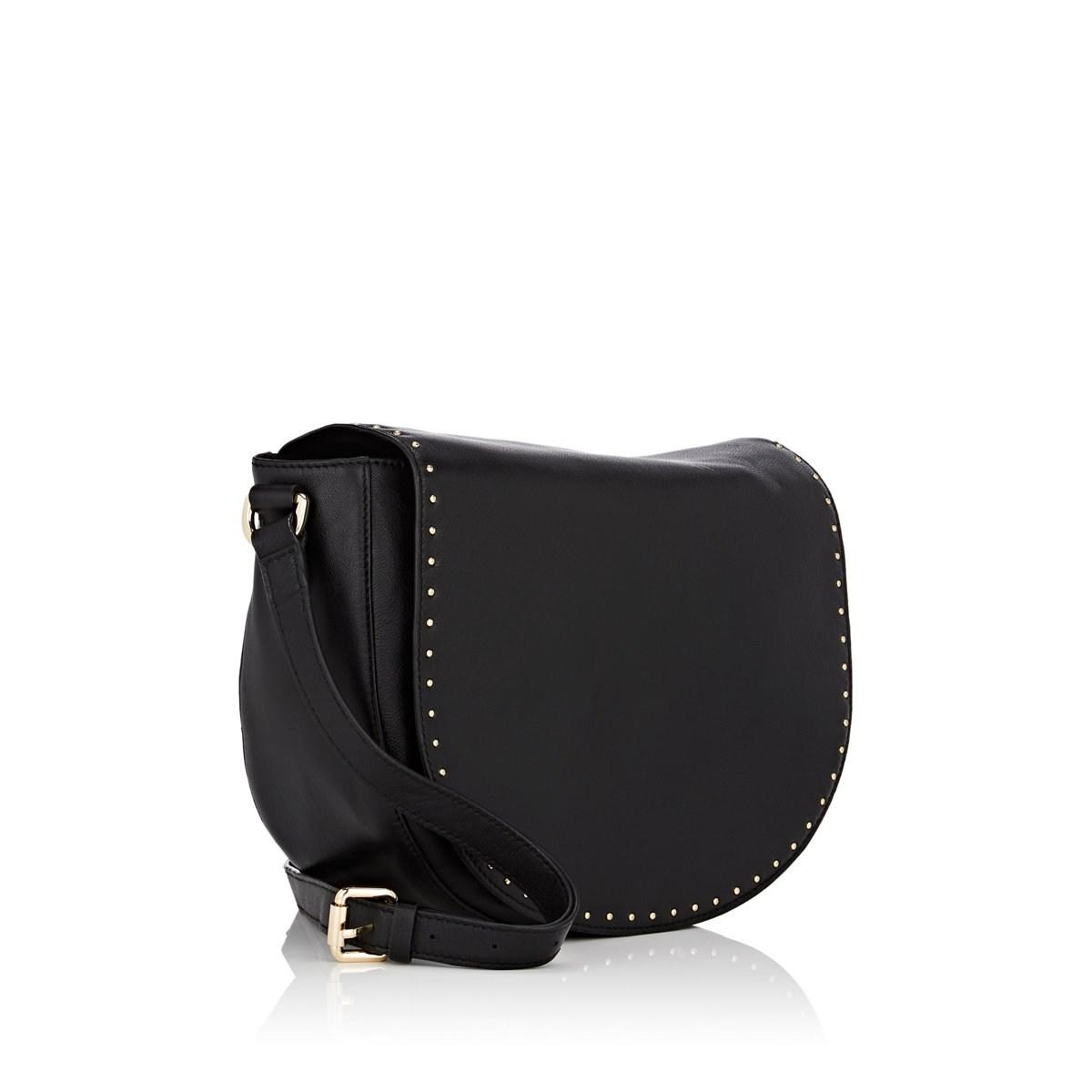 19bd36451bf5f9 Barneys New York - Black Studded Leather Saddle Bag - Lyst. View fullscreen
