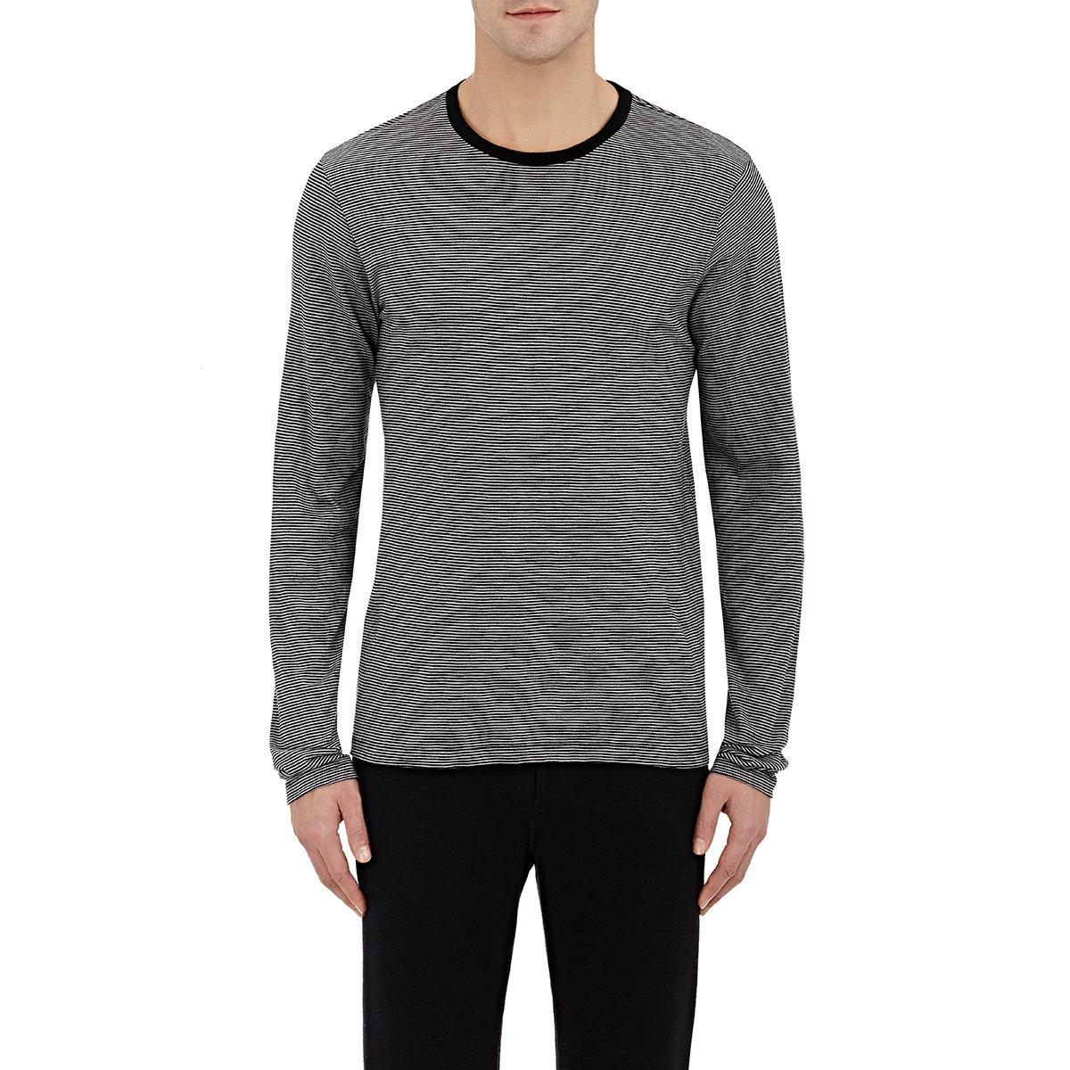 Lyst barneys new york men 39 s striped long sleeve t shirt for Mens striped long sleeve t shirt