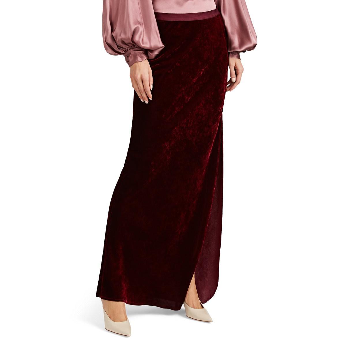 e4d432325 Nili Lotan Aya Velvet Maxi Skirt in Red - Save 23% - Lyst