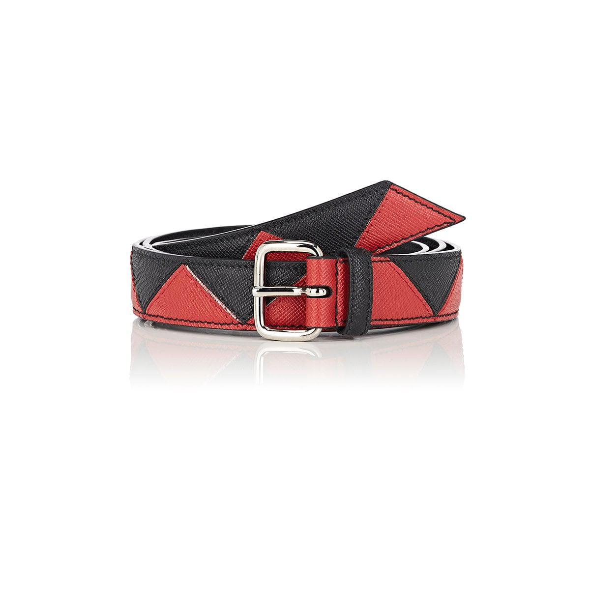 184f84d29e7a ... where to buy lyst prada geometric leather belt in red 2e8f6 6fe90