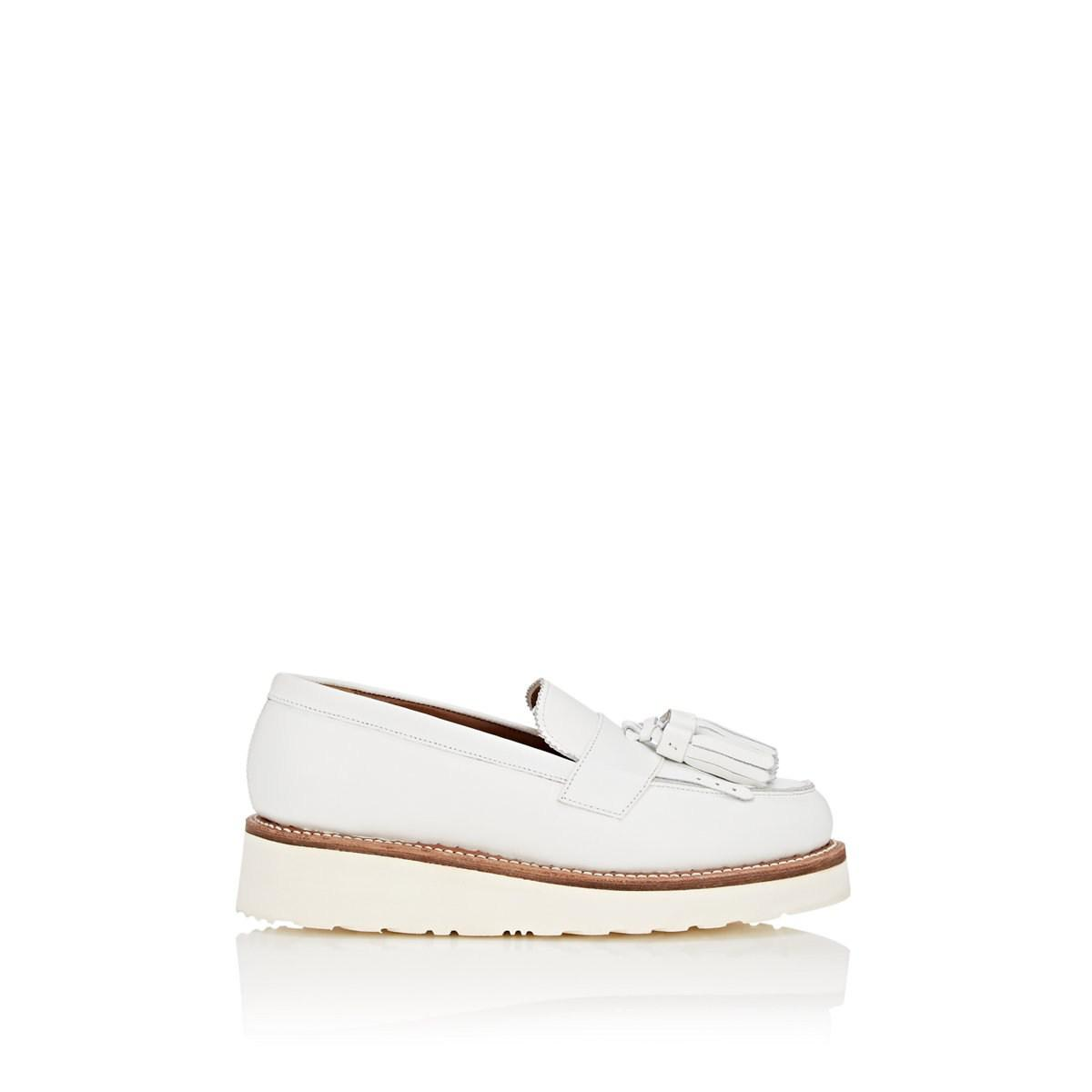 913002e3993 Lyst - Grenson Clara Leather Wedge Loafers in White