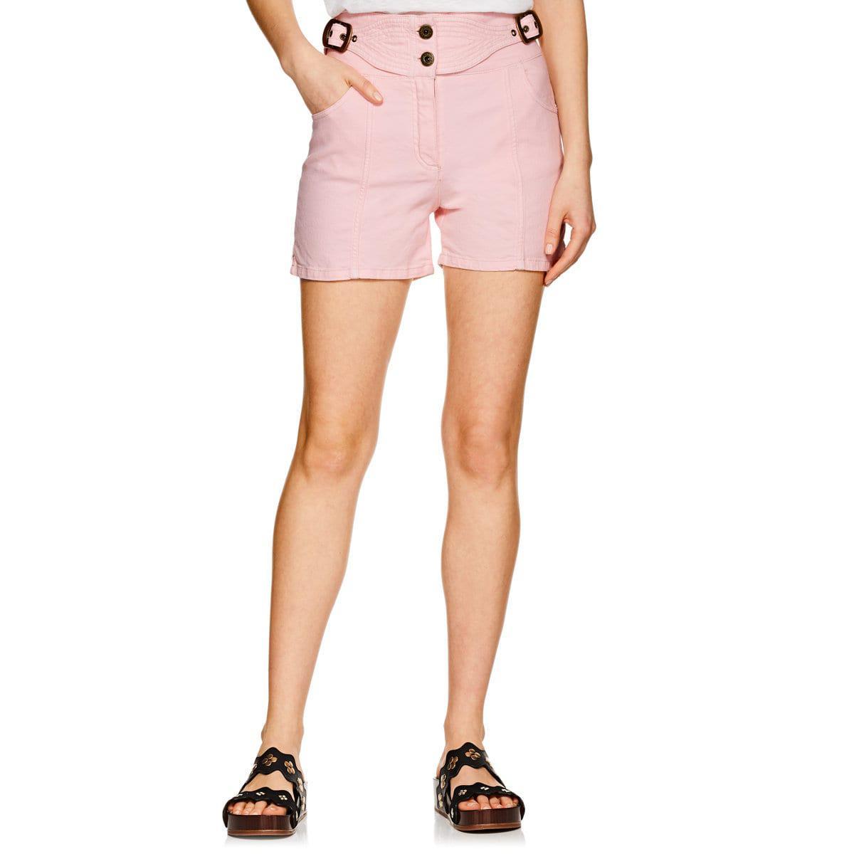 928a9ff9654 Lyst - Chloé Denim Belted High-waist Shorts in Pink