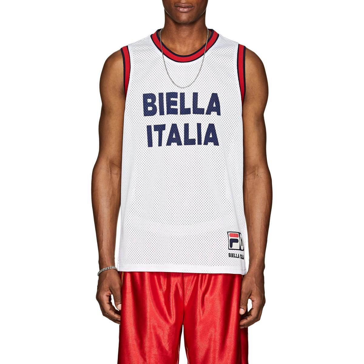 d3b5c3025aeb Fila biella Italia Athletic Mesh Jersey in White for Men - Save 57 ...