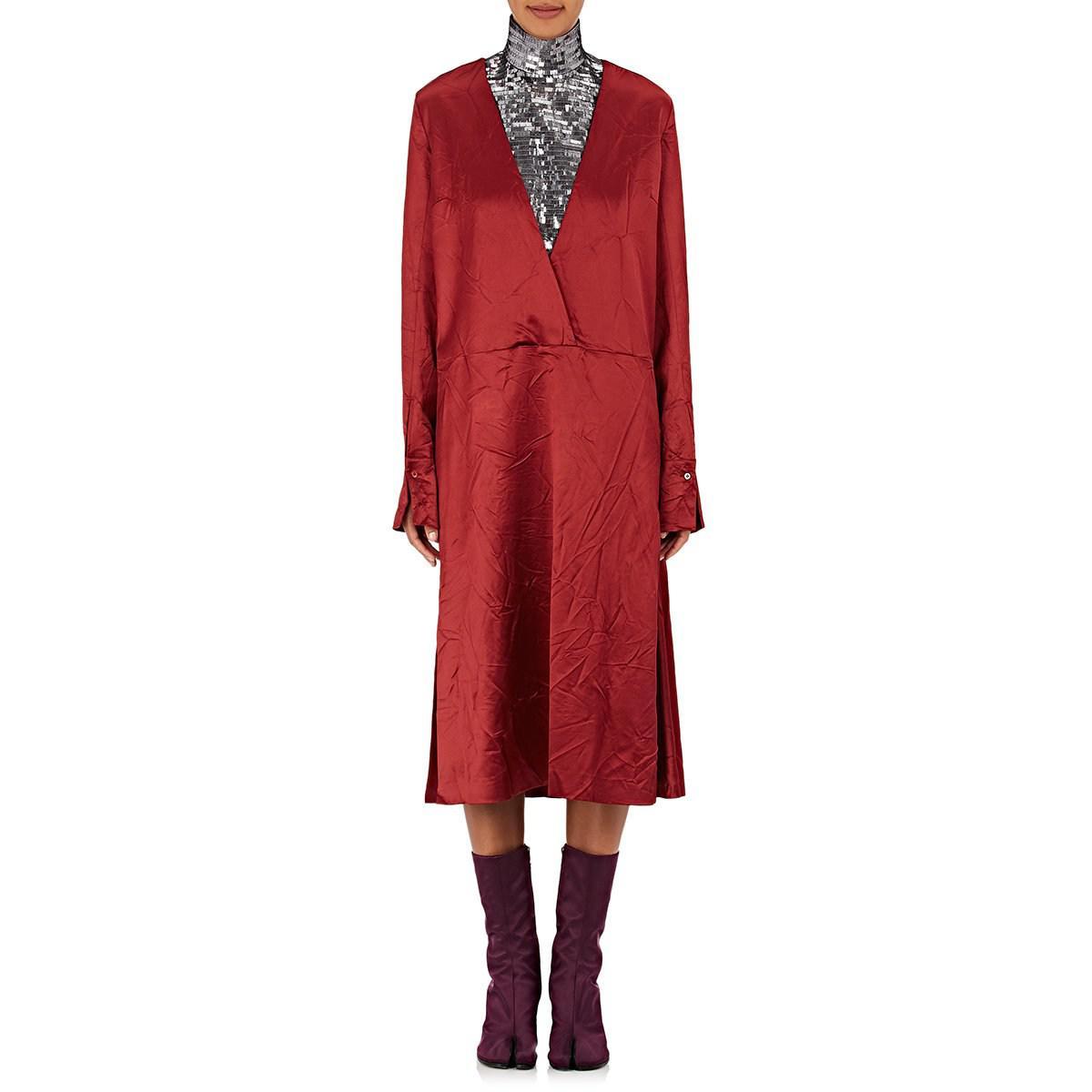 Womens Wrinkled Wool-Blend Satin Wrap Dress Maison Martin Margiela ELrOI6rmxB