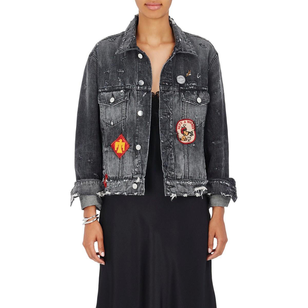 25b693d9fdf9 Amiri Denim Distressed Patchwork Black Jacket Women s H0rqH