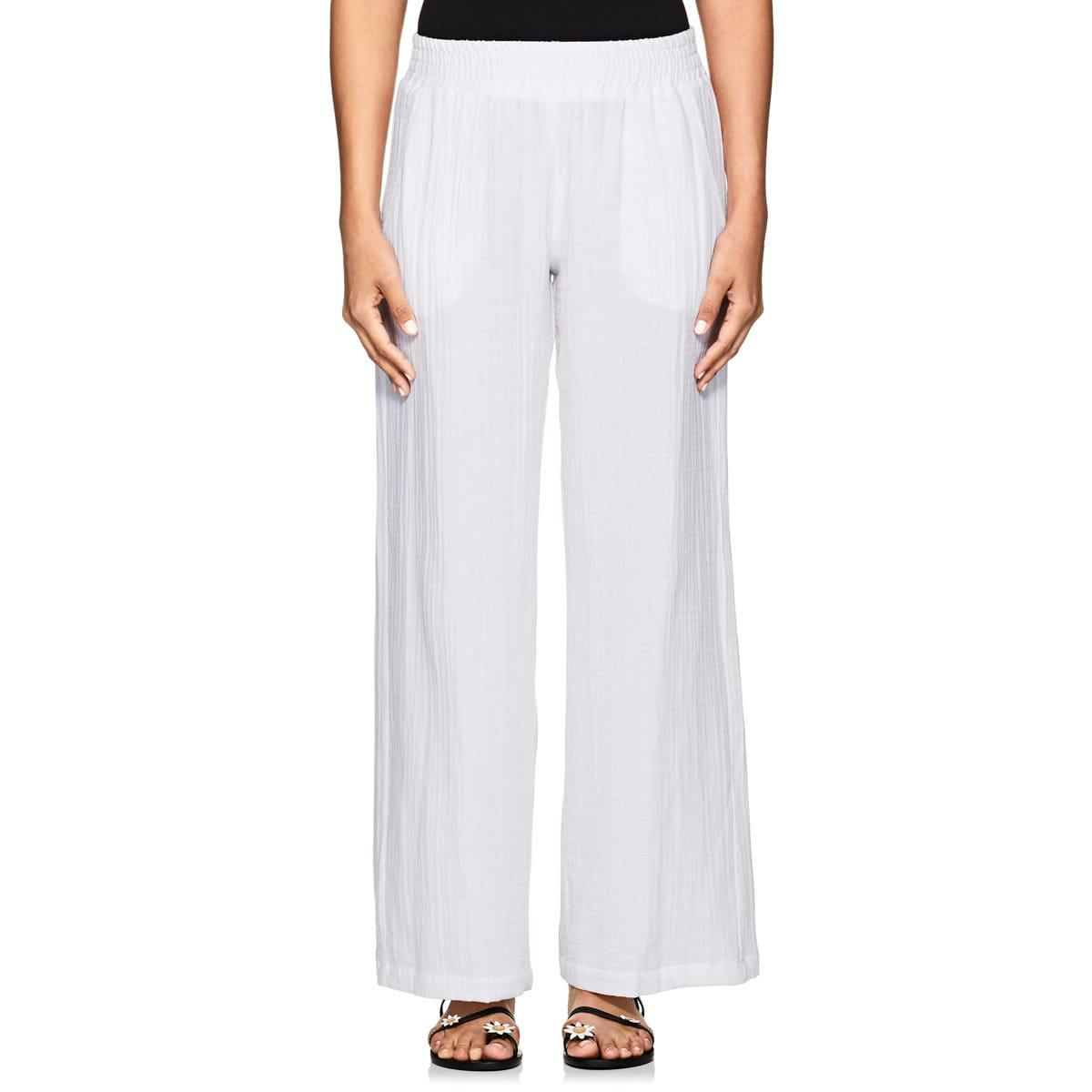 c5d0344aa8c27f Barneys New York Washed Cotton Wide-leg Pants in White - Save 60% - Lyst