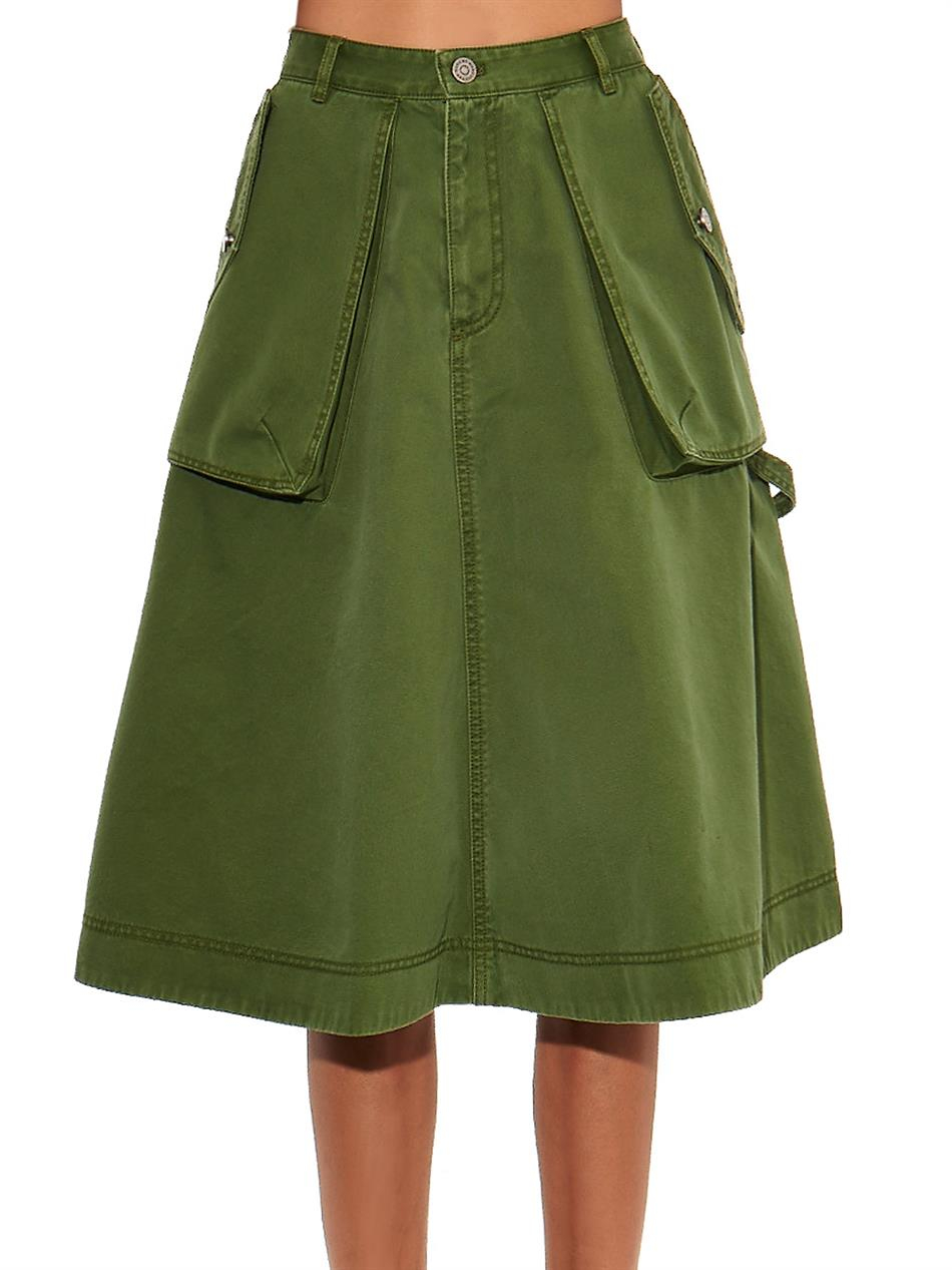 Marc by marc jacobs A-Line Cotton Skirt in Green | Lyst
