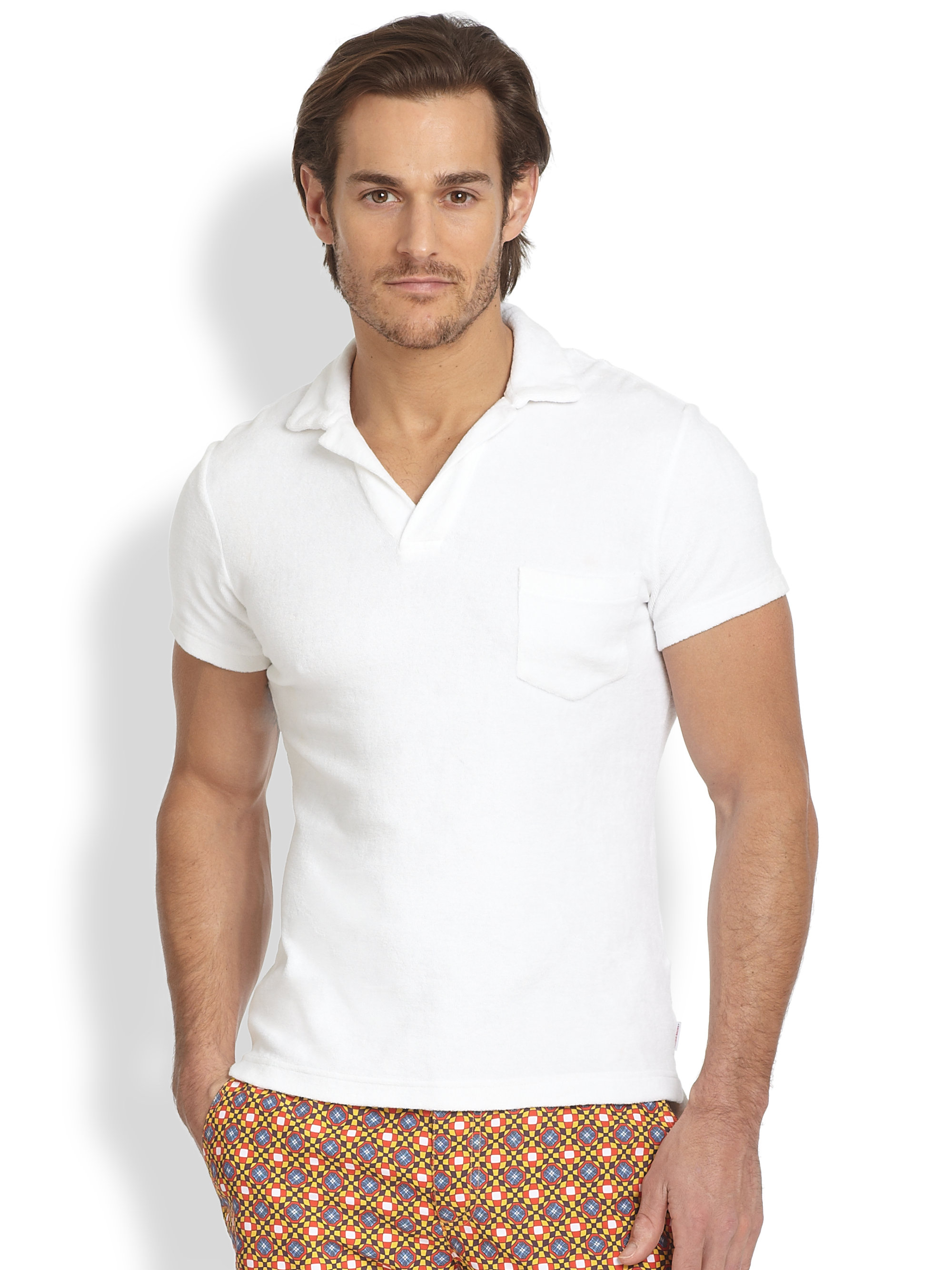 022808930 Orlebar Brown Terry Polo in White for Men - Lyst