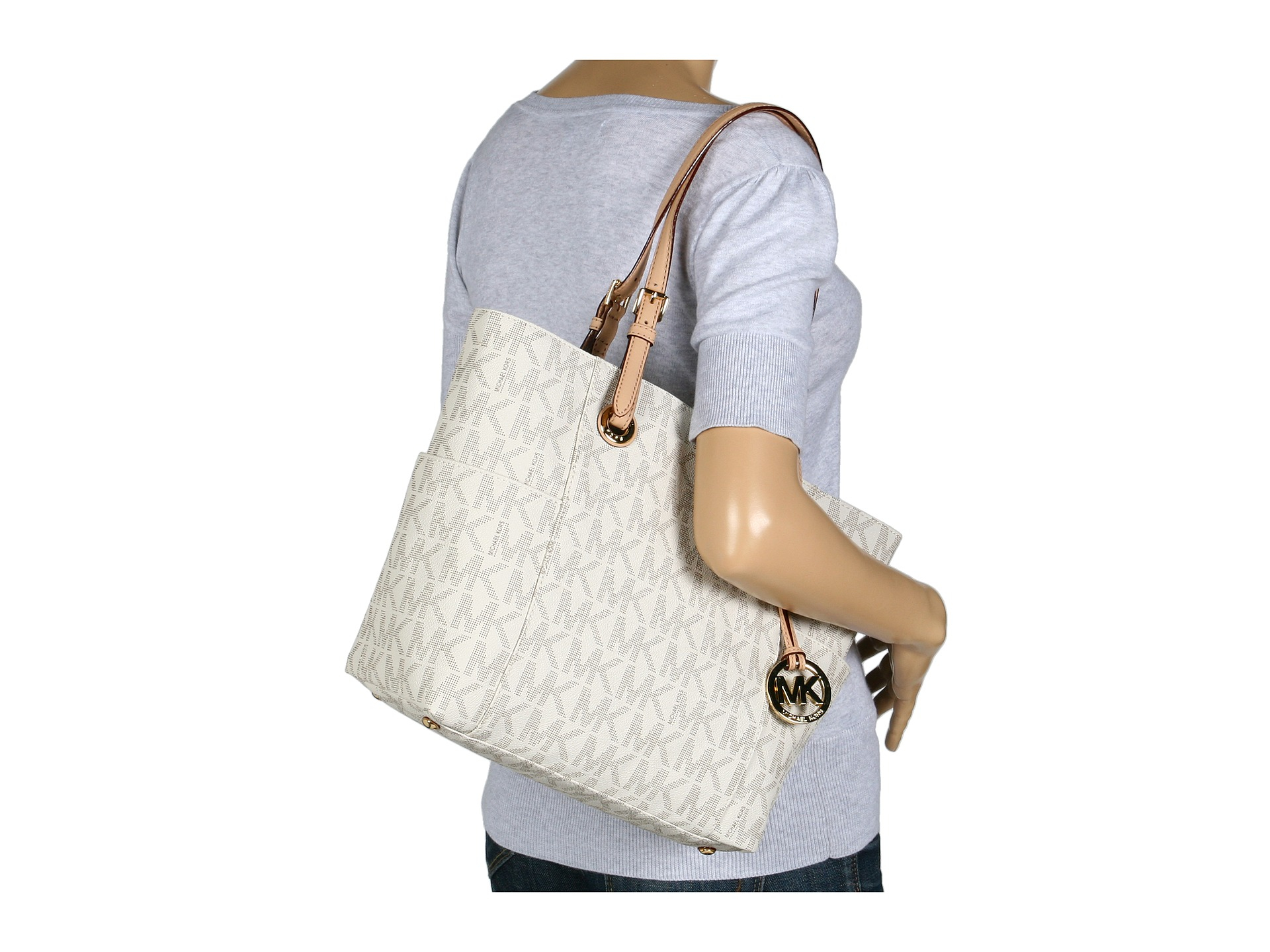 dd567cd48f7e ... france lyst michael michael kors mk logo east west signature tote in  white 1f4f1 f5805