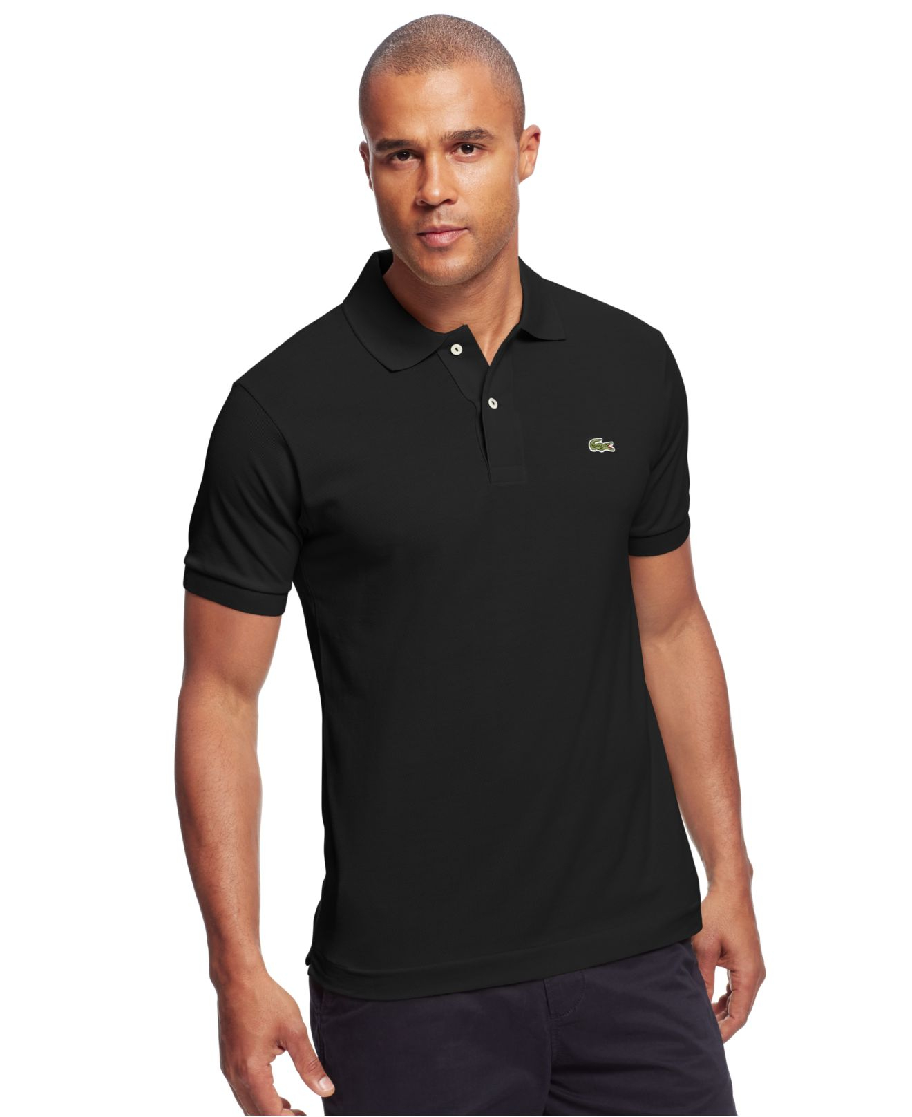 Lacoste classic pique polo shirt in black for men lyst for Boys lacoste polo shirt
