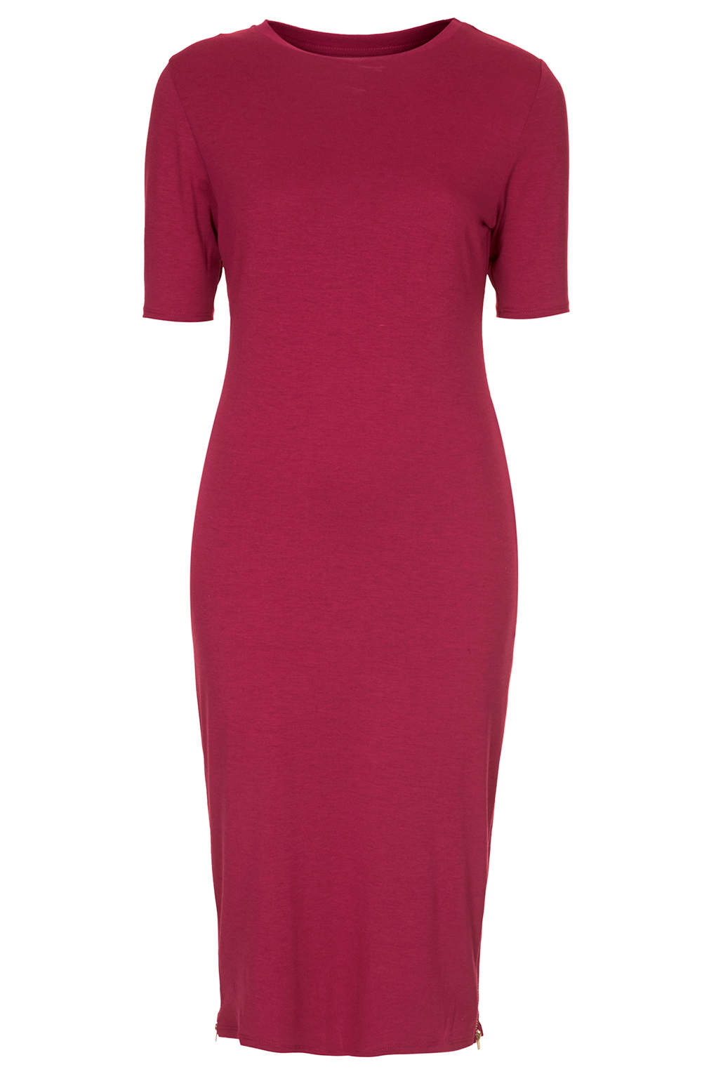 Topshop womens zip side midi dress oxblood in red oxblood for Womens denim shirts topshop