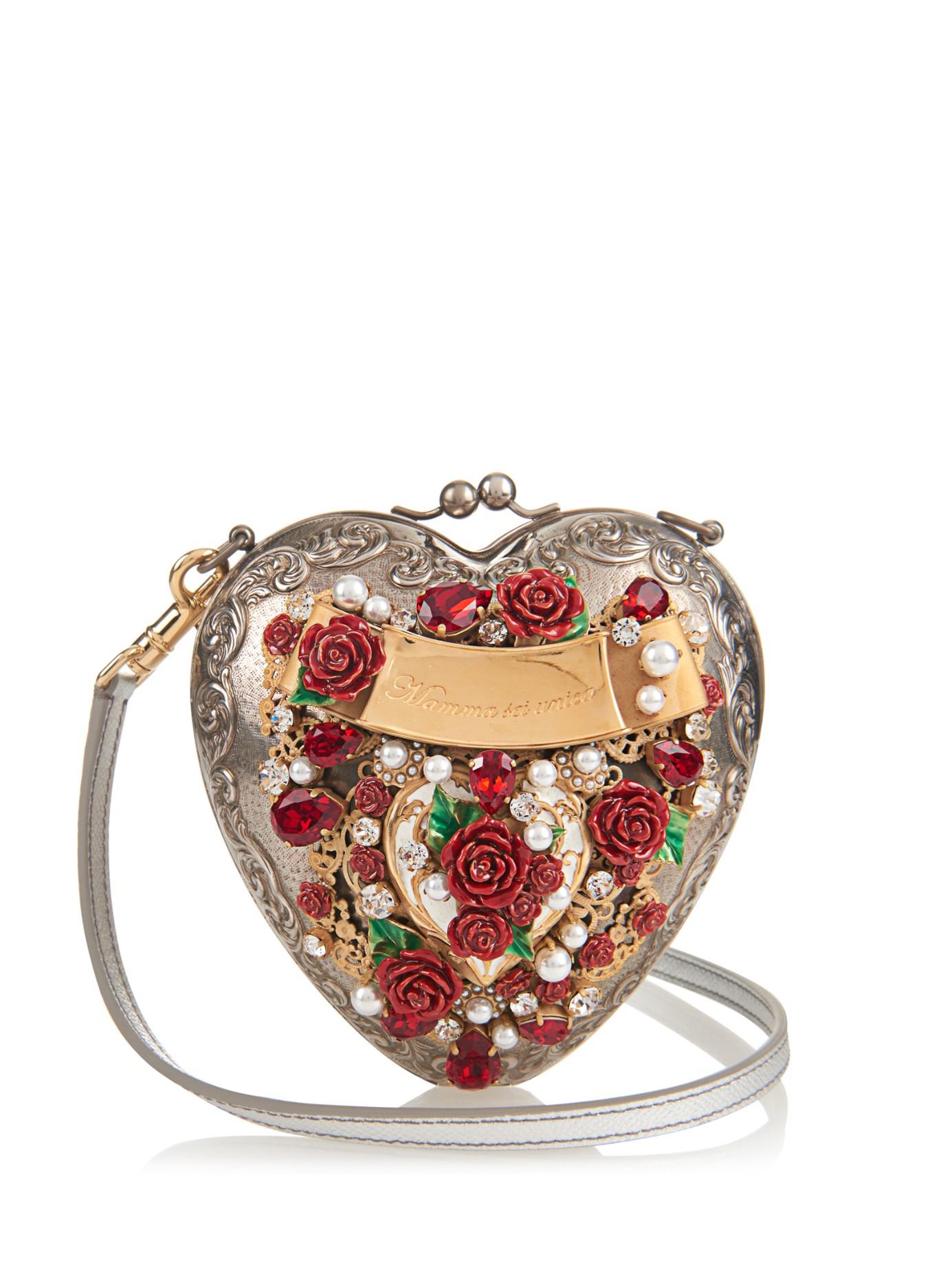 64cfaeaf770d Dolce   Gabbana Rose-embellished Cross-body Heart Bag - Lyst