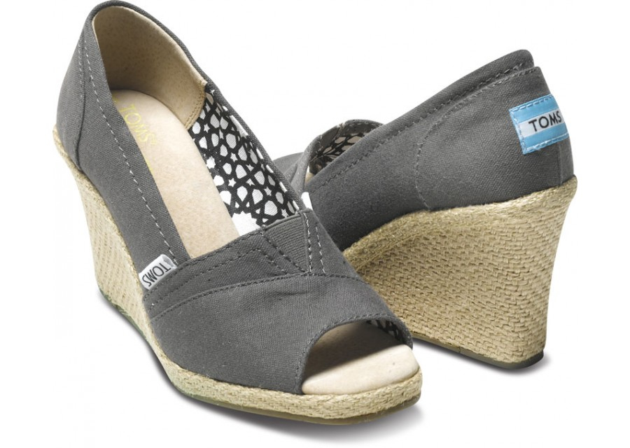 Toms Ash Canvas Womens Wedges In Gray Lyst