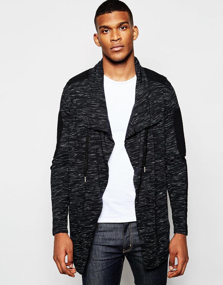 Black kaviar Waterfall Cardigan in Black for Men | Lyst