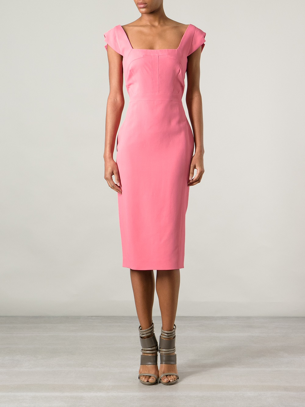 Antonio berardi Fitted Dress in Pink - Lyst