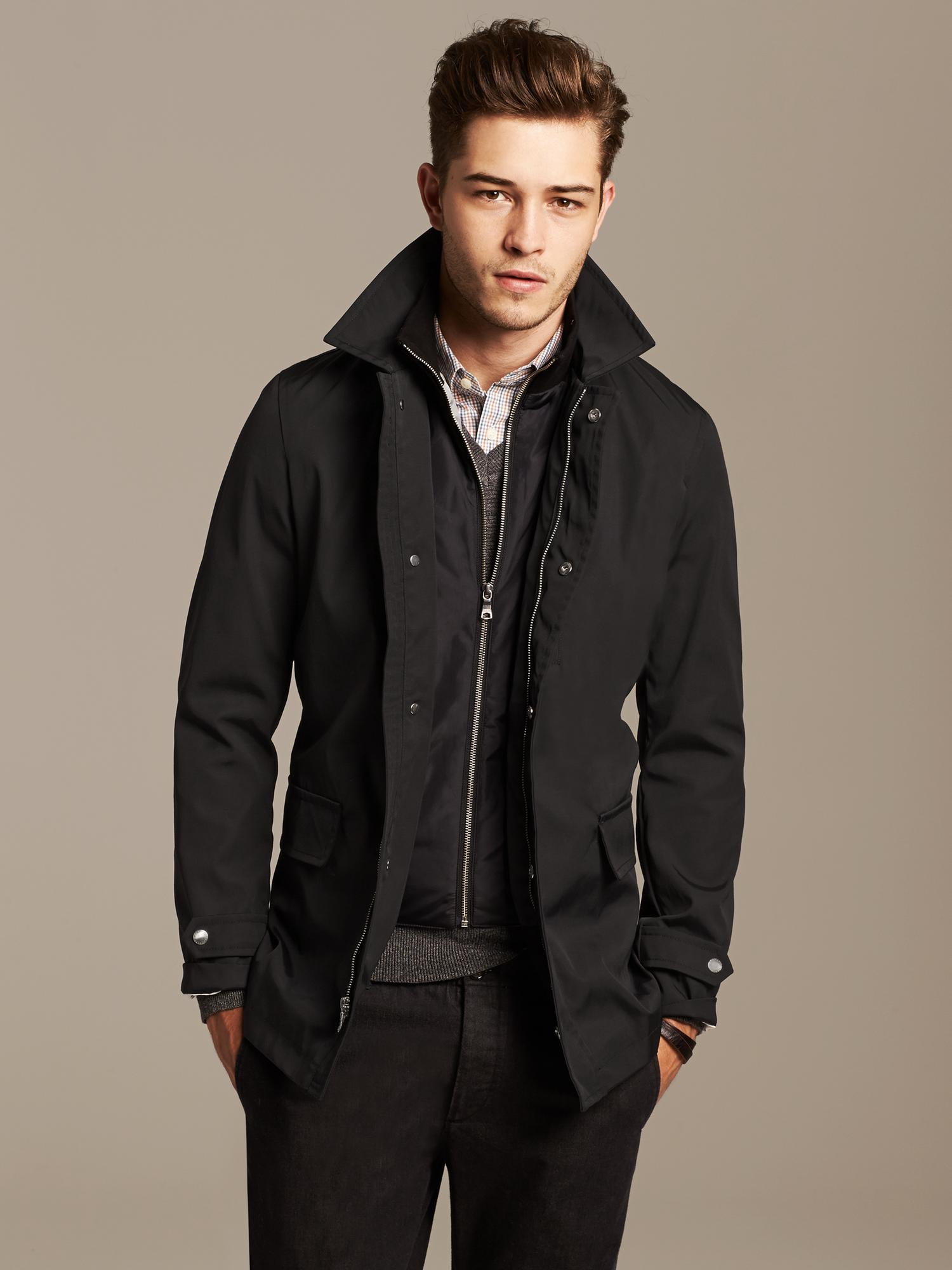 Lyst Banana Republic Black Mac Jacket In Black For Men