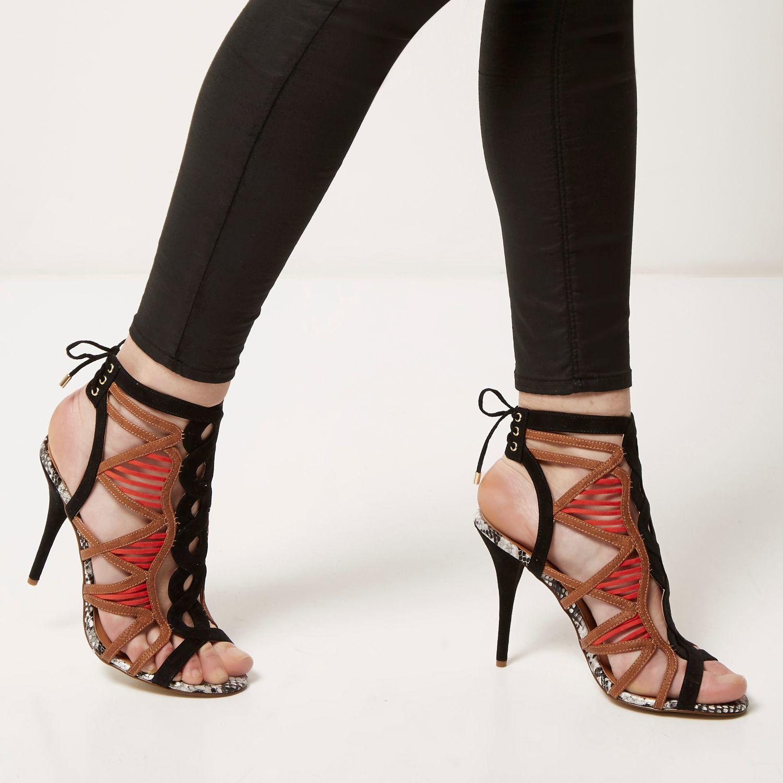 Womens Black flower strappy stiletto heel sandals River Island LOZN2Ho