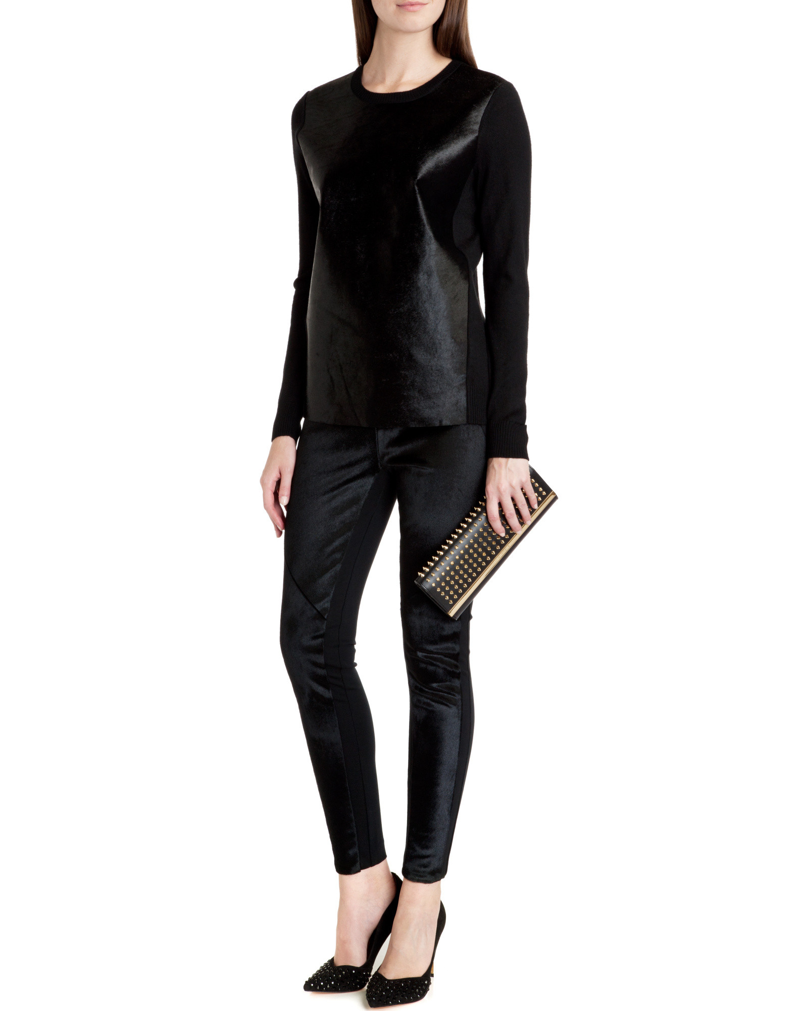 5594a92f0 Ted Baker Pony Skin Effect Leather Sweater in Black - Lyst