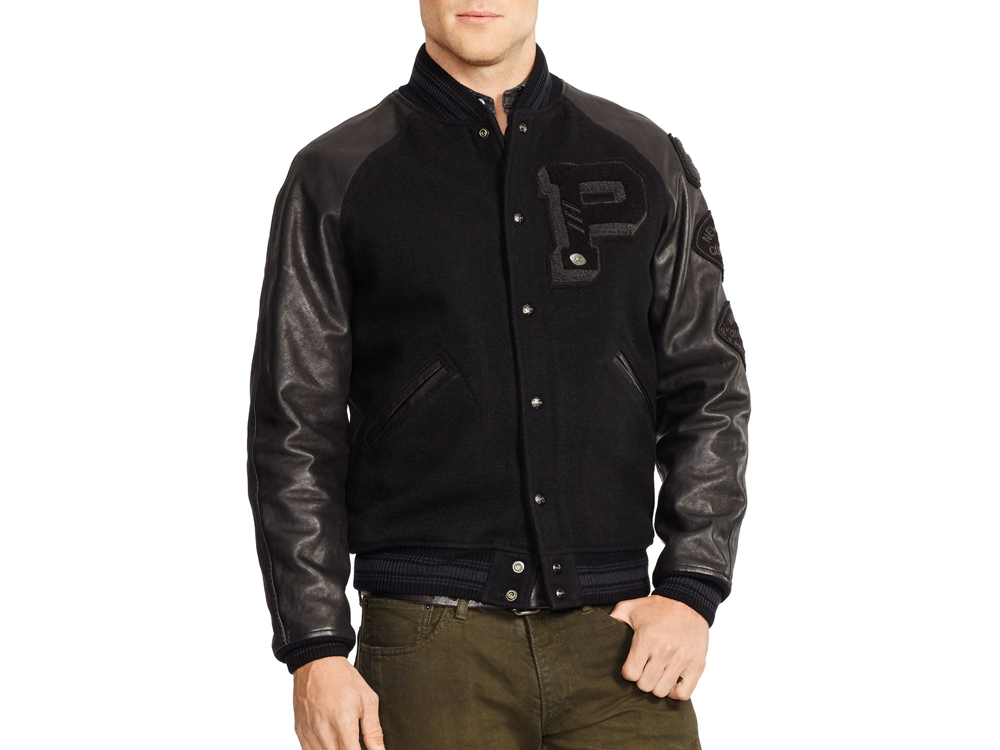 ralph lauren polo wool and leather varsity jacket in black for men. Black Bedroom Furniture Sets. Home Design Ideas