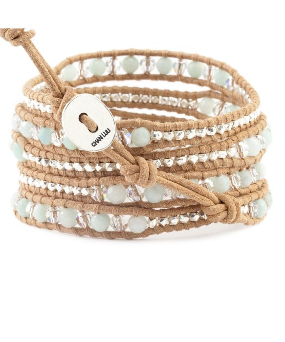 Leather And Silver-tone Multi-stone Wrap Bracelet - Beige Chan Luu