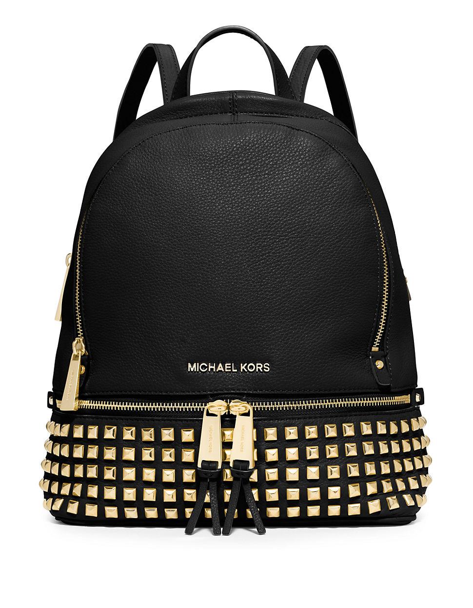 michael michael kors studded back pack in metallic lyst. Black Bedroom Furniture Sets. Home Design Ideas