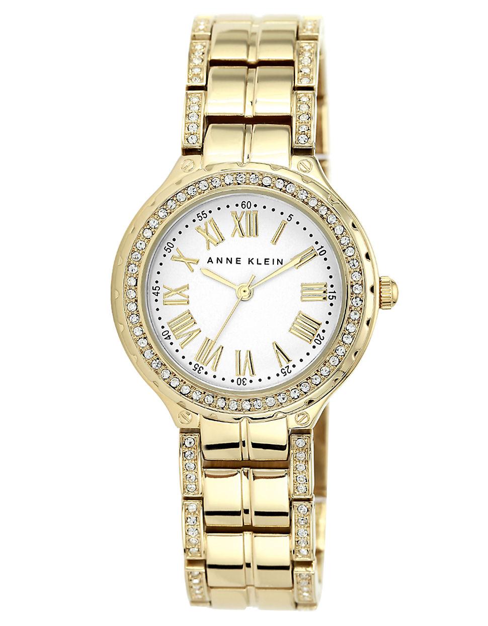 Anne klein ladies goldtone swarovski crystal bracelet watch in gold lyst for Anne klein swarovski crystals