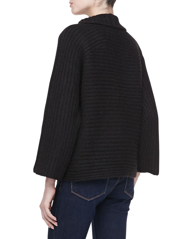 Halston Heritage Long Sleeve Ribbed Knit Cardigan Coat ...