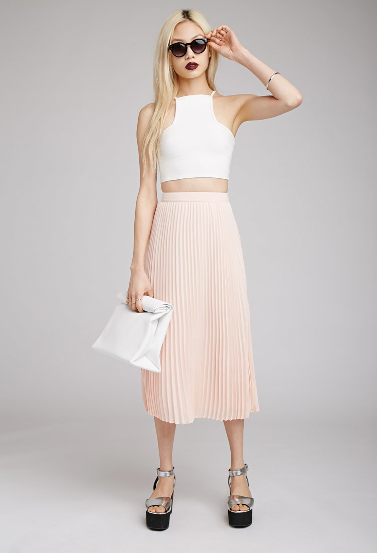 5d1e47b9ff Forever 21 Accordion Pleat Midi Skirt in Pink - Lyst