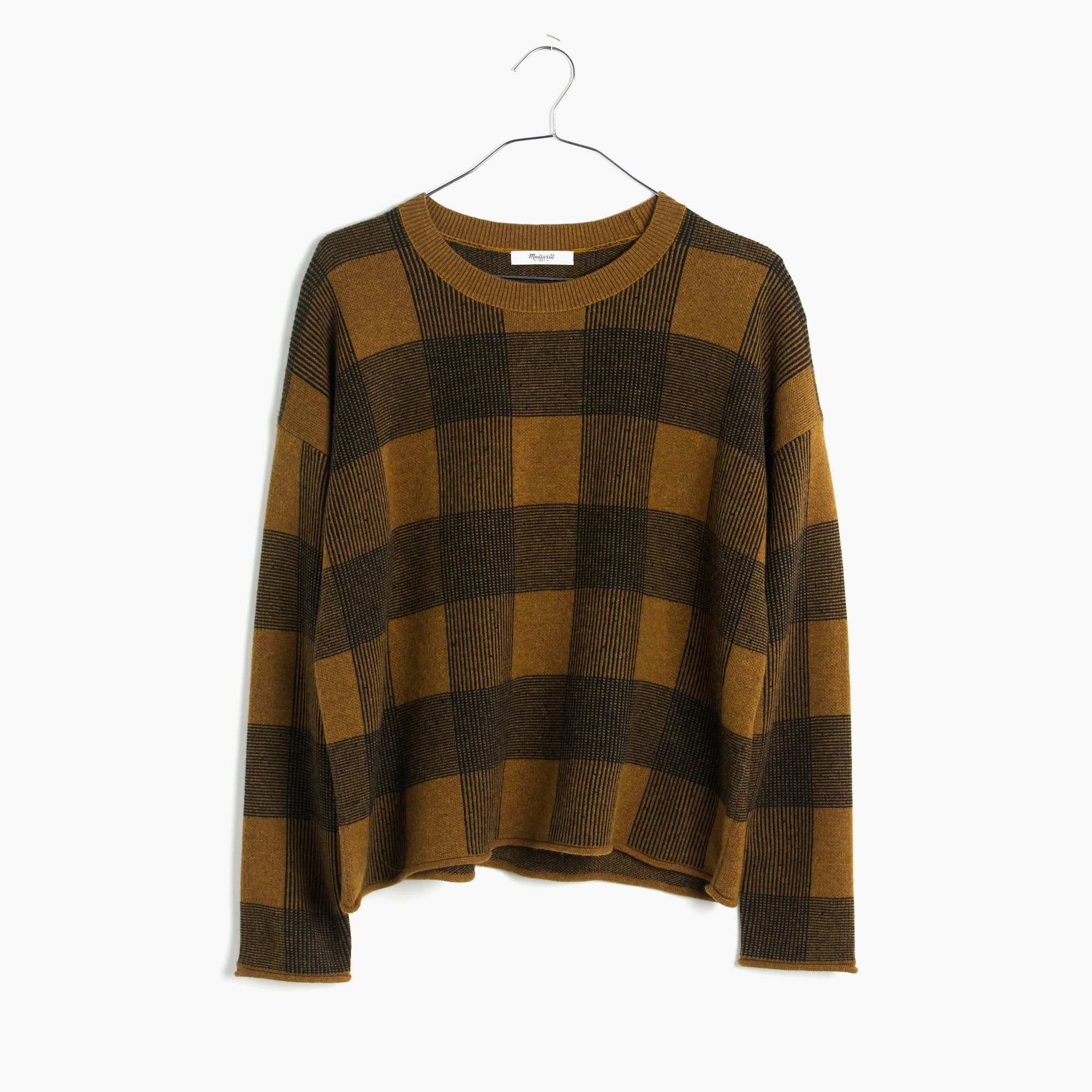 Madewell Inkcheck Plaid Sweater In Brown Lyst