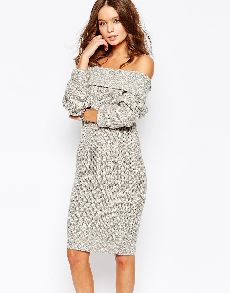 c2807848a80 Fashion Union Knitted Off Shoulder Sweater Dress in Gray - Lyst