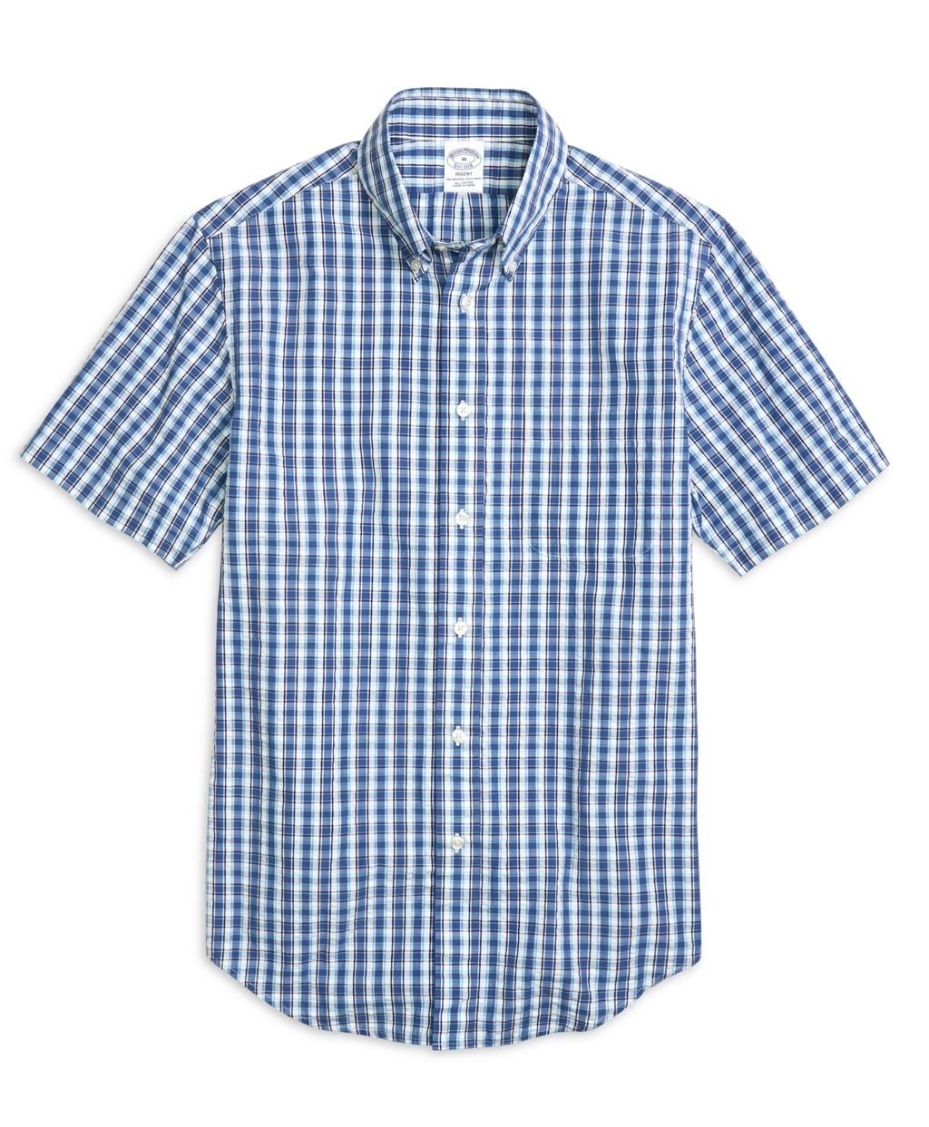 Brooks brothers madison fit plaid seersucker short sleeve for Mens short sleeve seersucker shirts