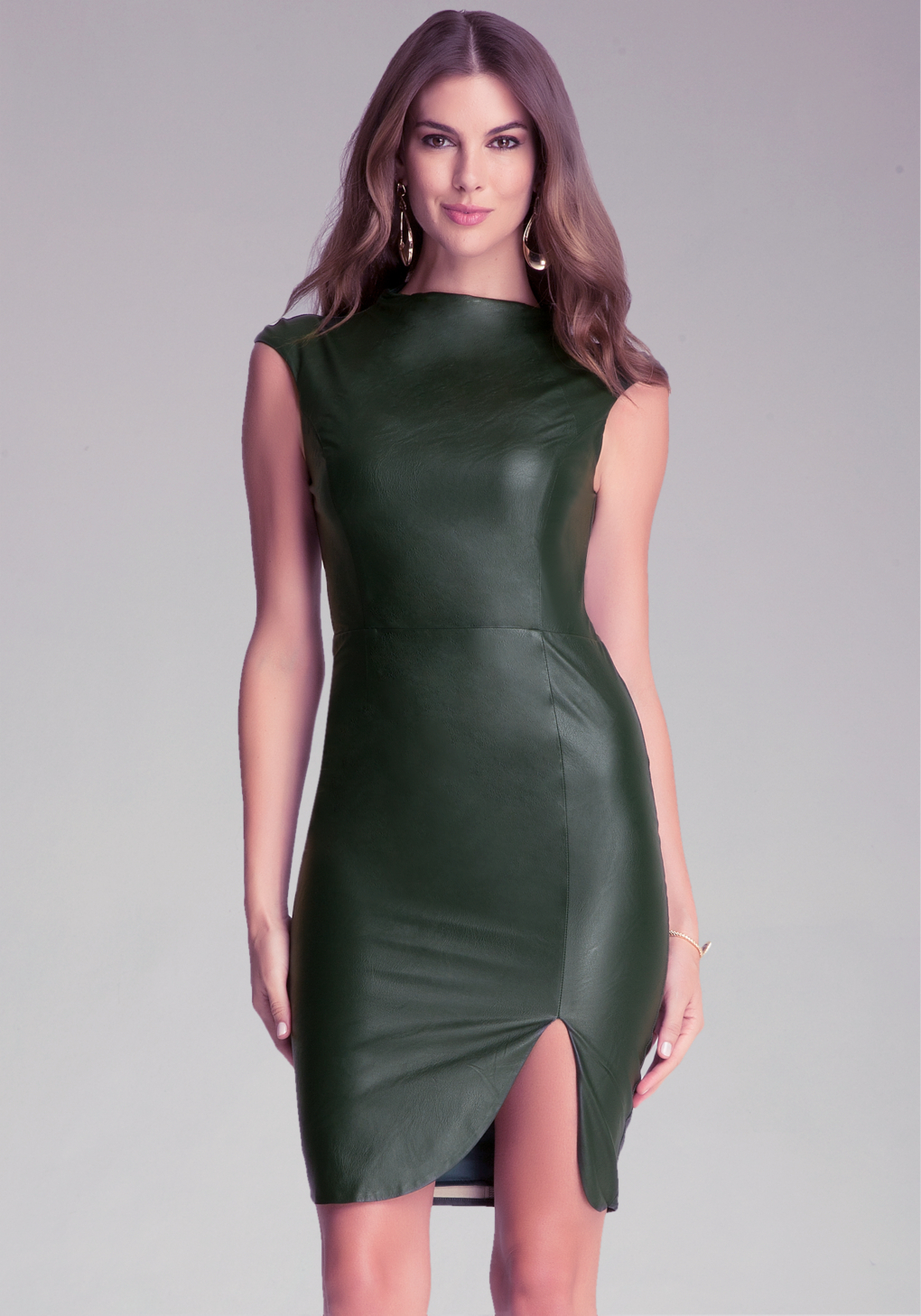 bebe faux leather midi dress in green lyst. Black Bedroom Furniture Sets. Home Design Ideas
