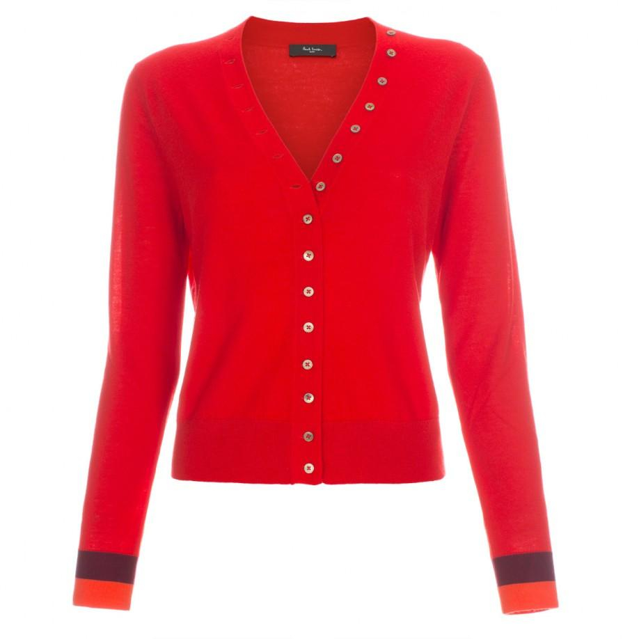 Paul smith Women's Red Cashmere Cardigan With Contrasting Cuffs in ...
