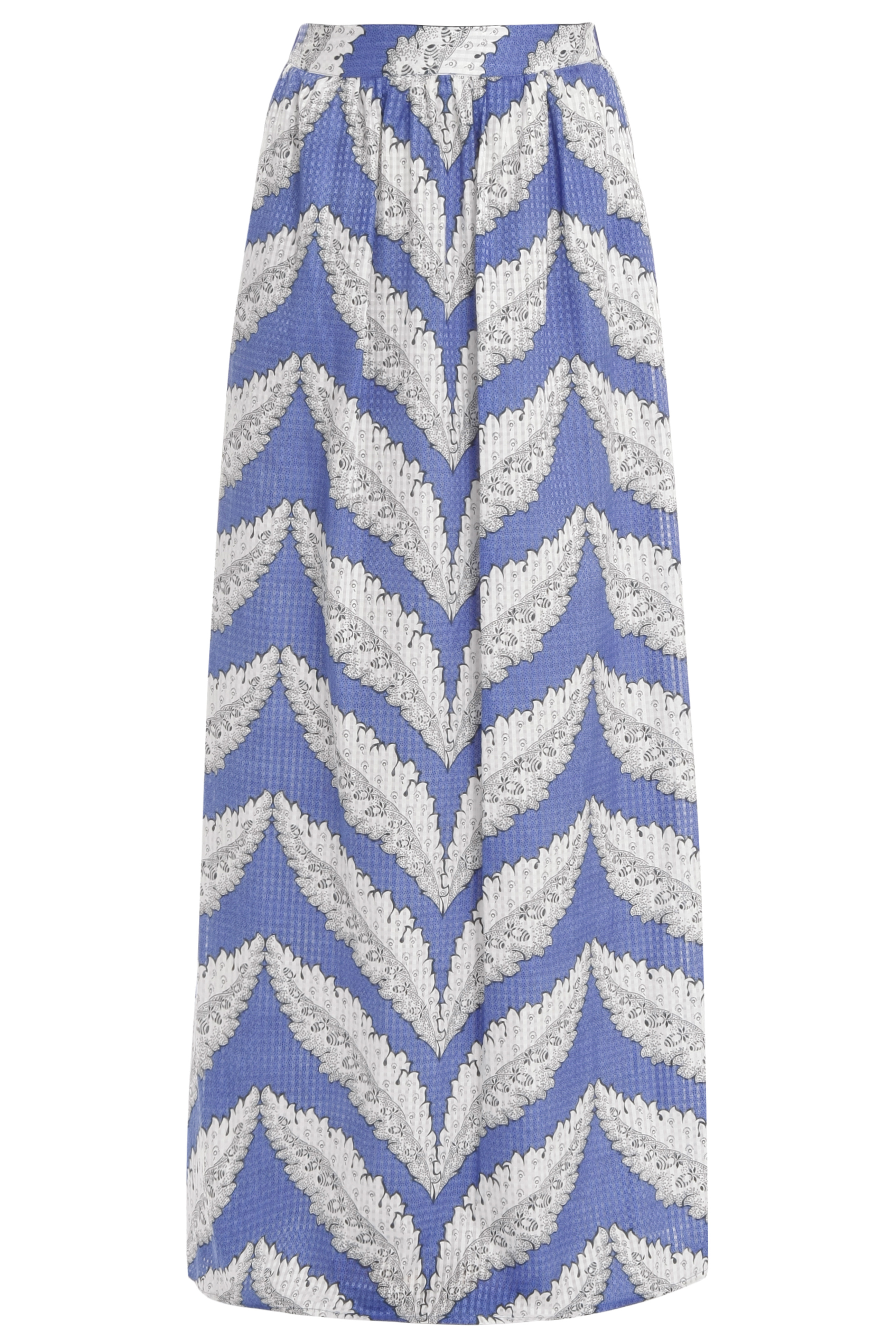 paul joe maxi skirt feather print in blue lyst