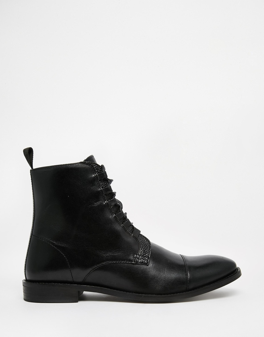 asos derby boots in black leather with looped laces in