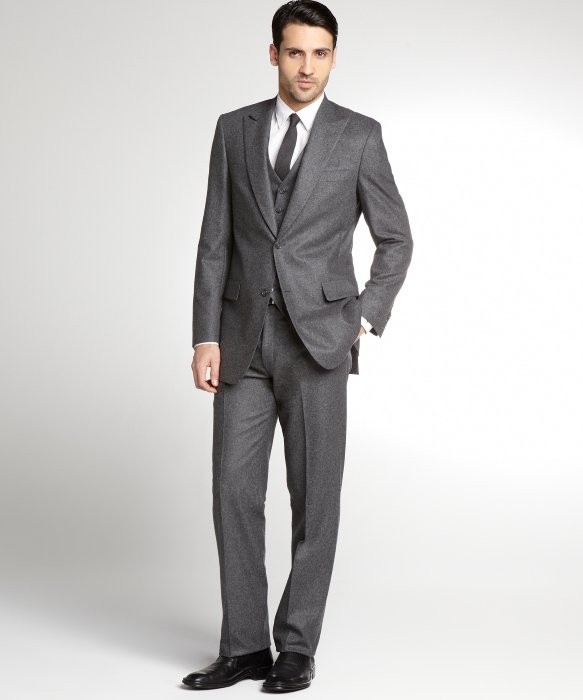 Hart schaffner marx Charcoal Worsted Wool 3 Piece Suit with Flat ...