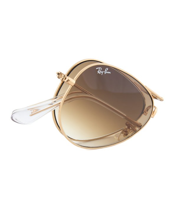 brown lens aviator sunglasses  Ray-ban Rb3479 001/51 Folding Aviator Sunglasses With Gold Frame ...