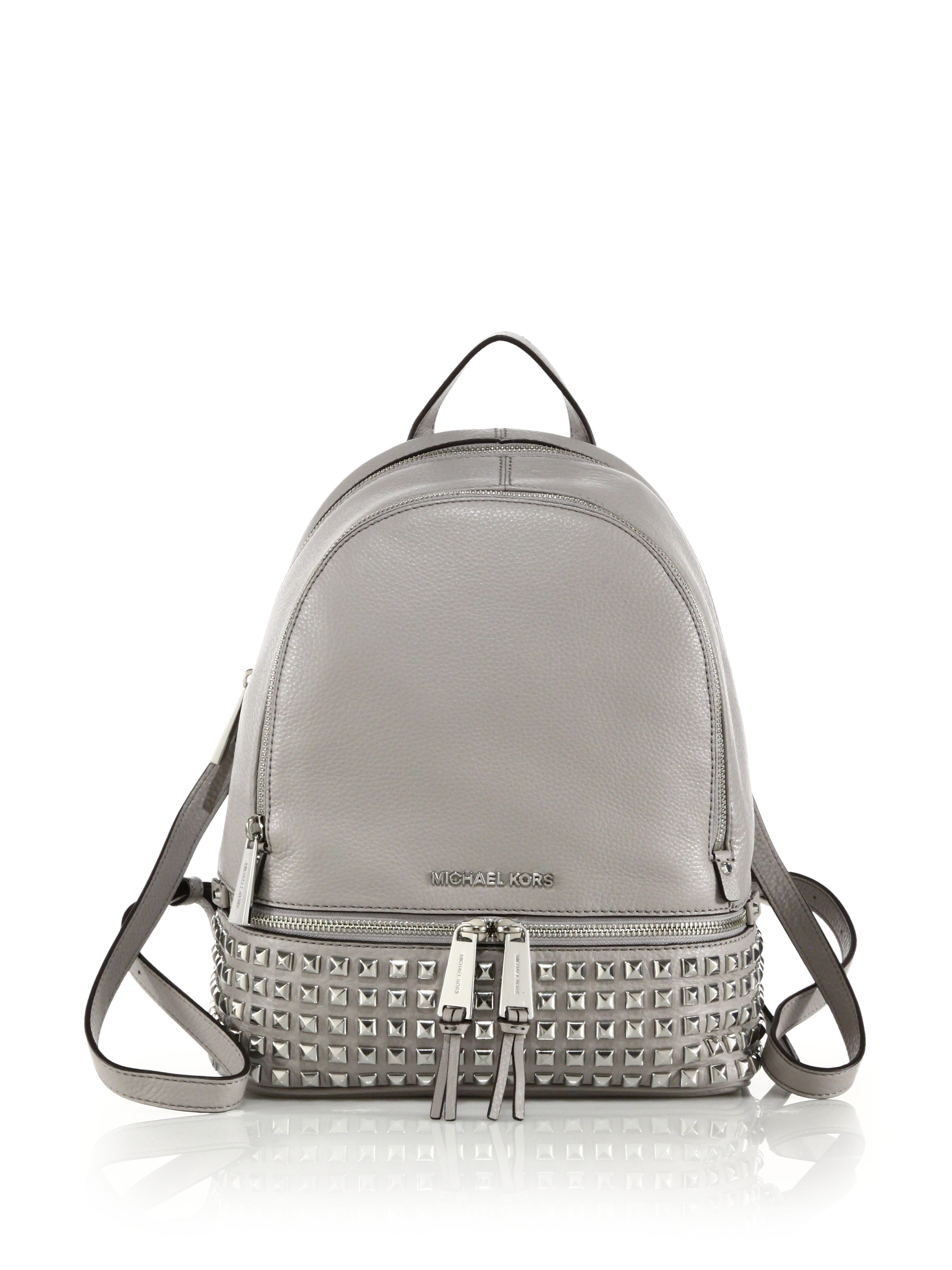 5fecd79650223 ... where to buy lyst michael michael kors small studded leather backpack  in black 43435 20b52