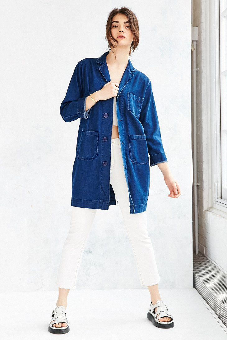 Silence Noise Denim Duster Jacket In Blue Lyst