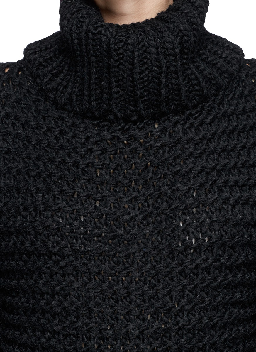 Acne studios 'ginette' Chunky Knit Turtleneck Sweater in Black | Lyst