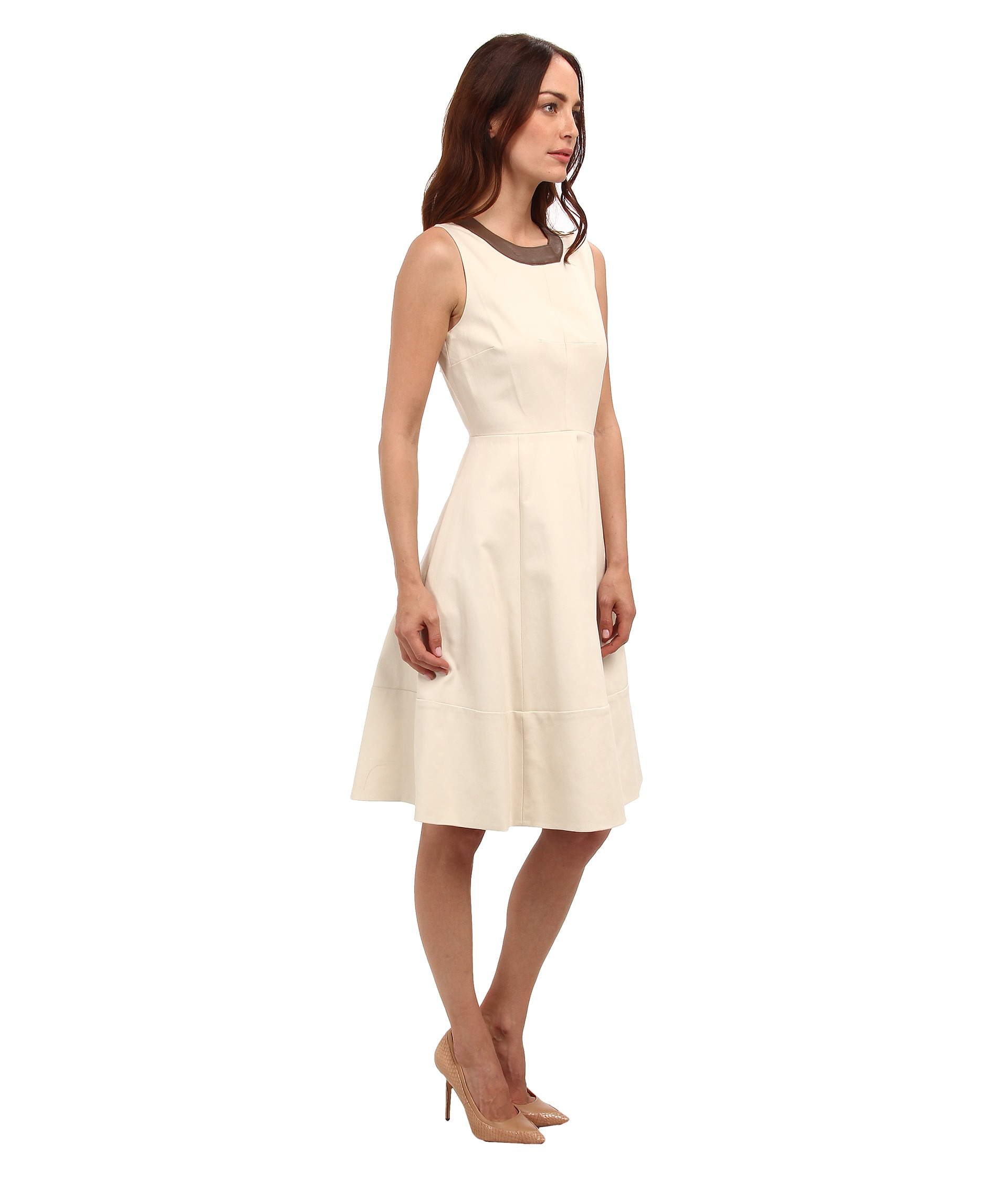 Galerry leather trim flared dress katespade