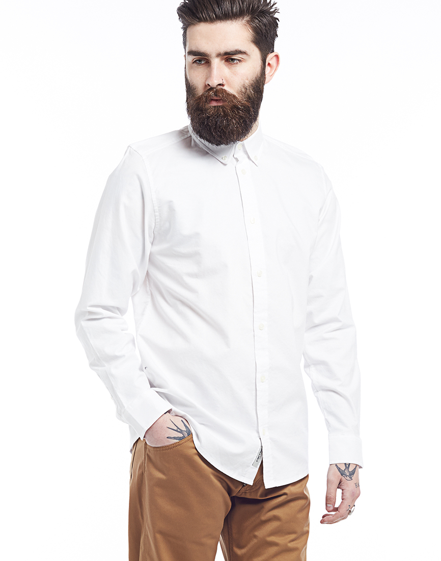 Lyst carhartt wip long sleeve button down shirt white in for Carhartt long sleeve t shirts white