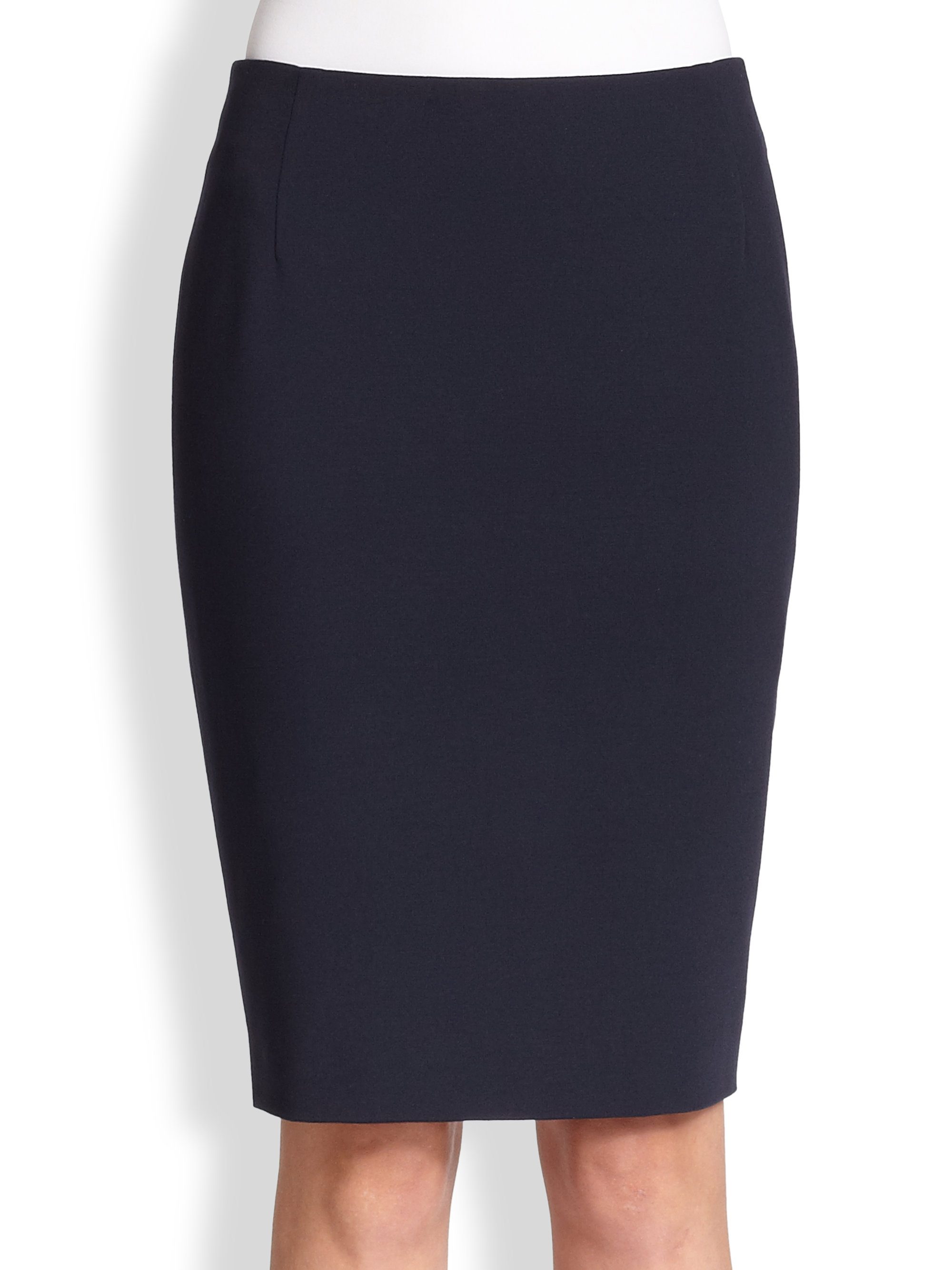 akris punto jersey pencil skirt in blue lyst