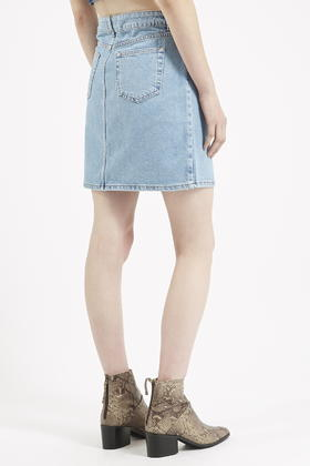 Topshop Moto High-waisted Denim Skirt in Blue | Lyst