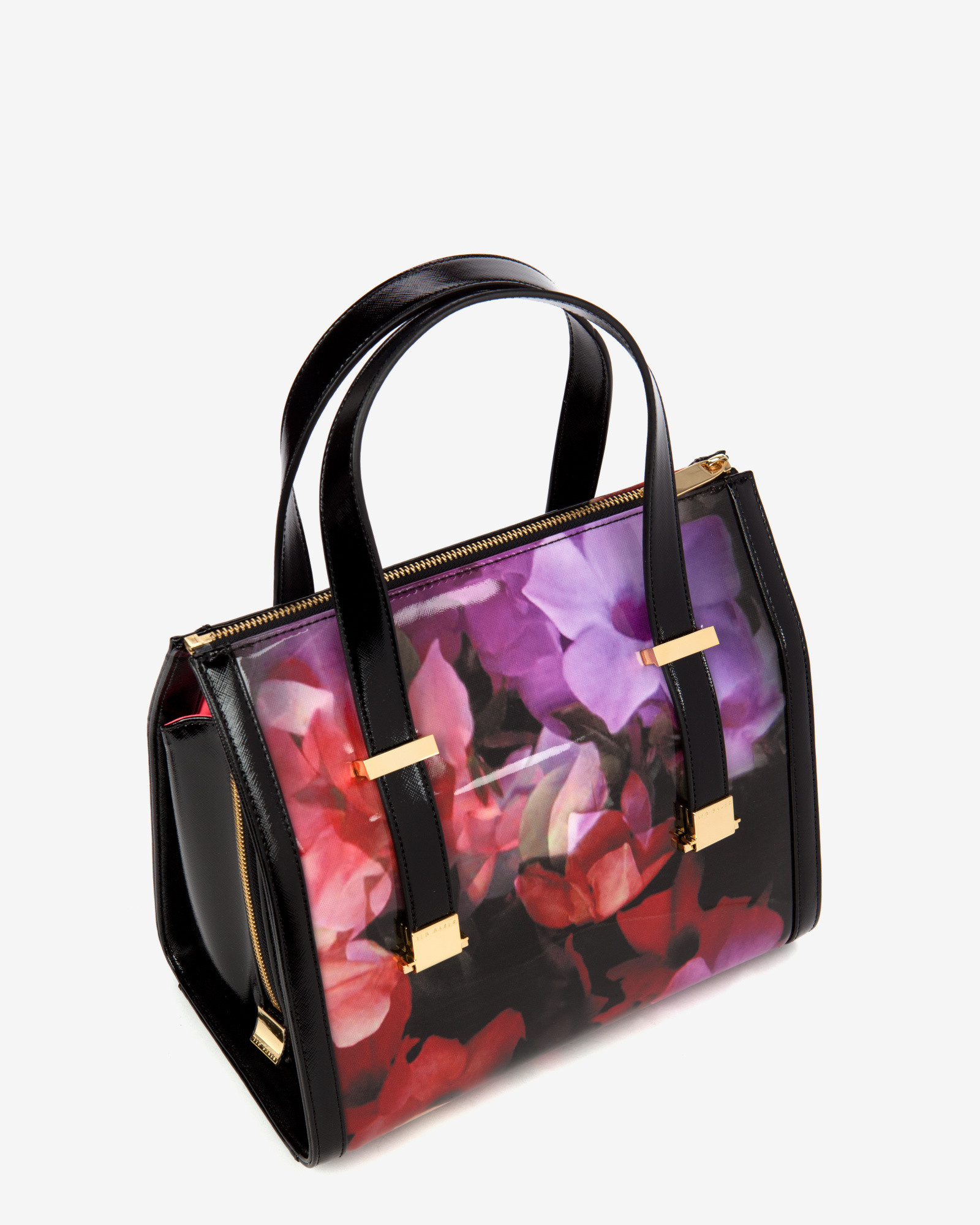 d988be2ee1c54 Lyst - Ted Baker Cascading Floral Bowler Bag in Black