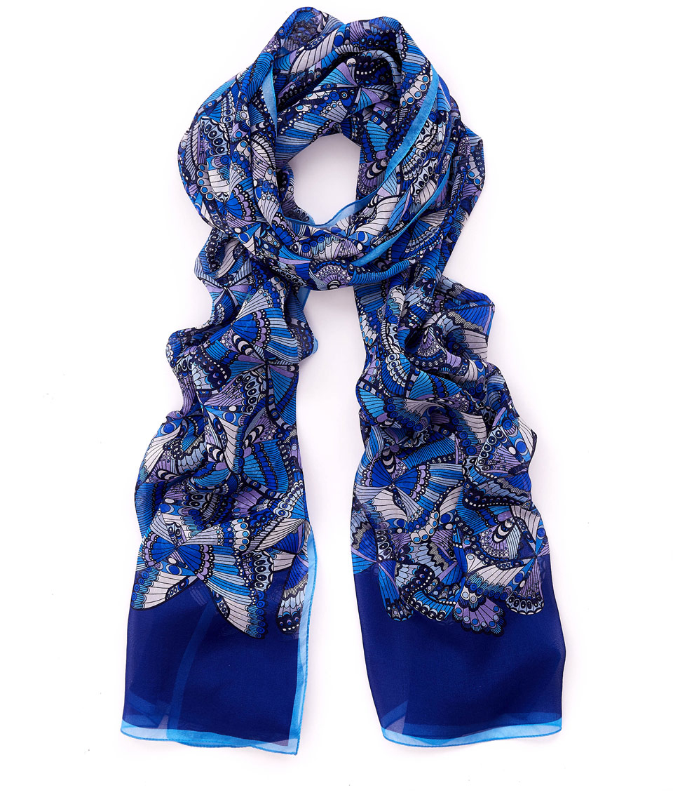 liberty navy papillon meadow chiffon scarf in blue lyst
